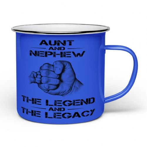 The Legend And The Legacy Novelty Enamel Tin Gift Mug - Blue